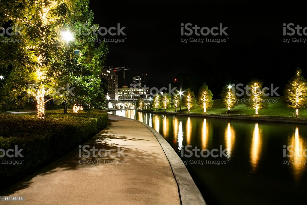 Beautifully lit water with office buildings in background. royalty-free stock photo
