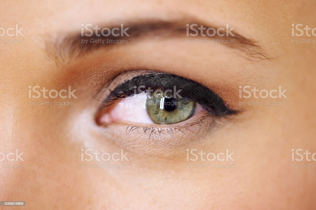 Beautifully made-up eye stock photo