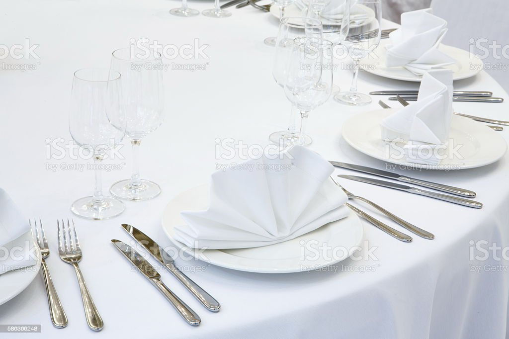 Beautifully organized event - served festive table stock photo