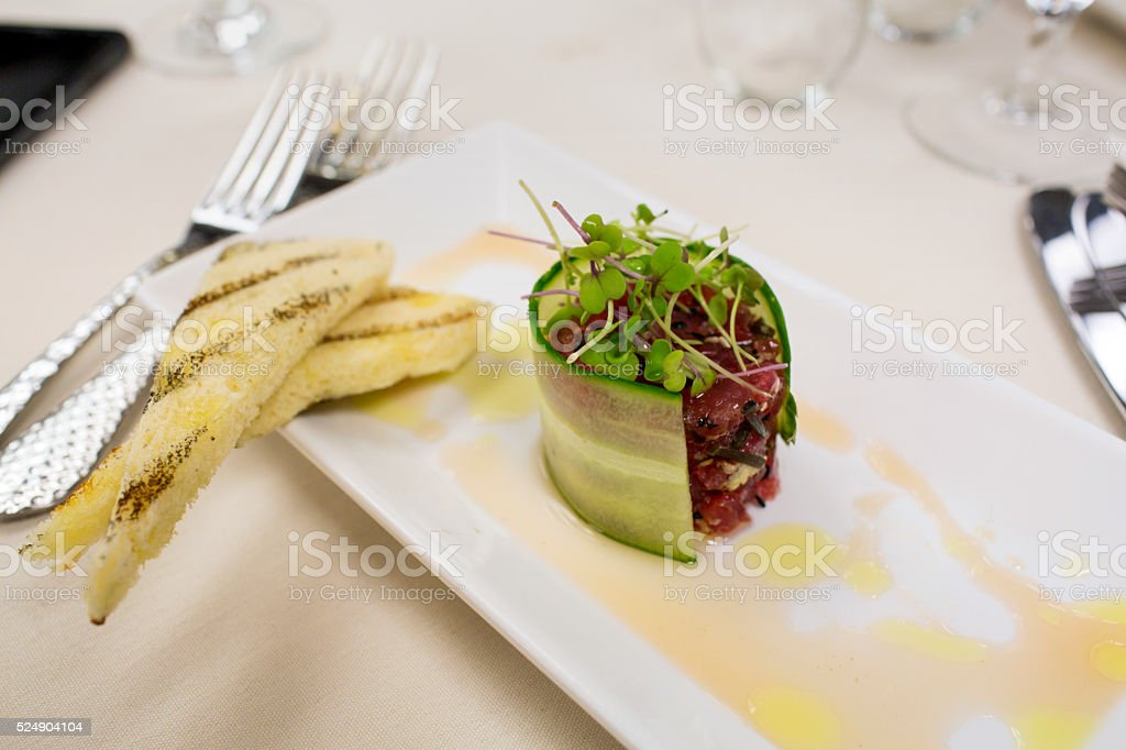 Beautifully Plated Tuna tartare stock photo