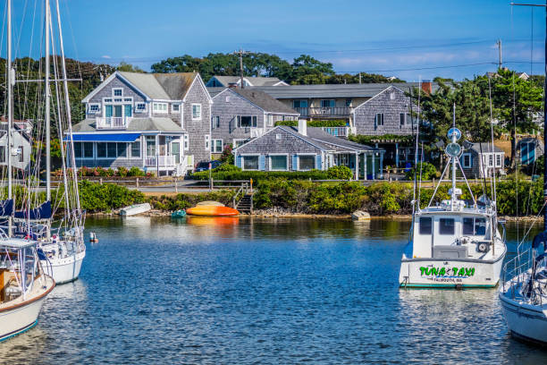 A beautifully private owned sailboat in Cape Cod, Massachusetts stock photo