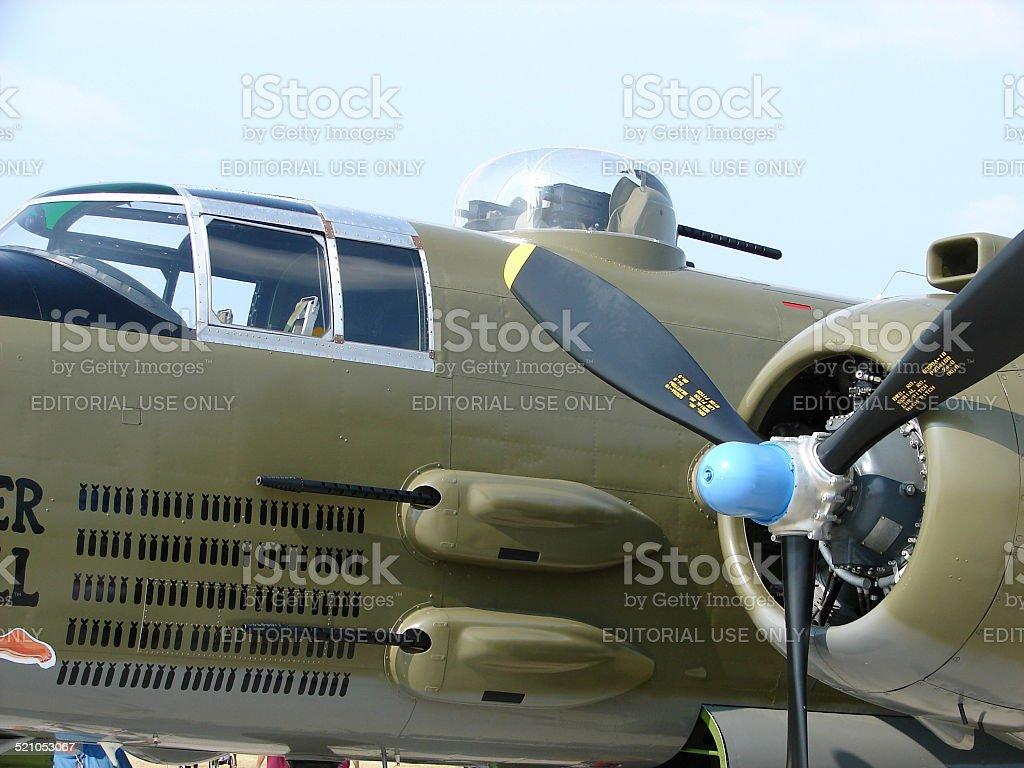 Beautifully restored North American B-25 Mitchell bomber. stock photo