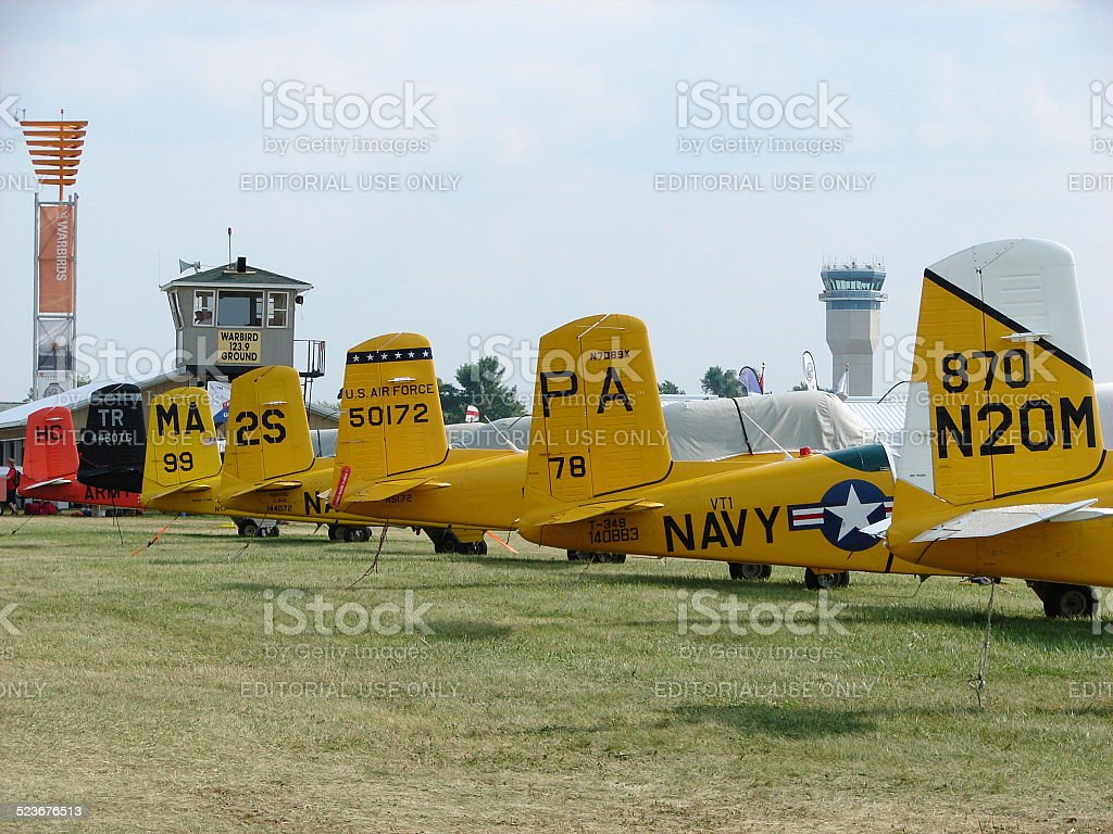 Beautifully restored WWII Beechcraft T-34 Mentor trainers. stock photo