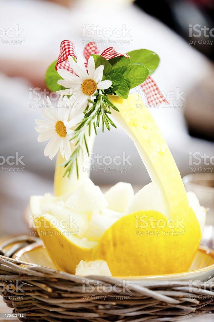Beautifully served yellow mellon stock photo