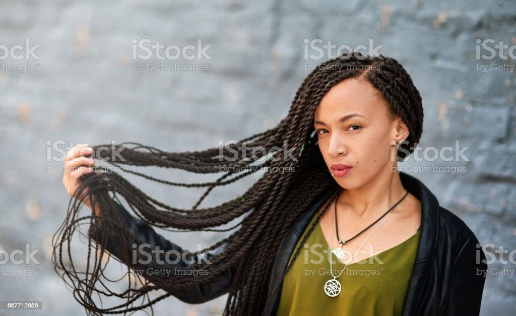 Beautifully twisted braids stock photo