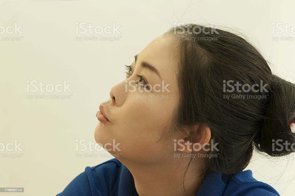 beautiful,woman,lady looking up royalty-free stock photo