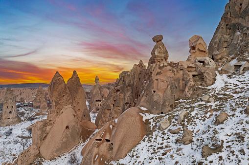 Red mountain valley in Cappadocia landscape