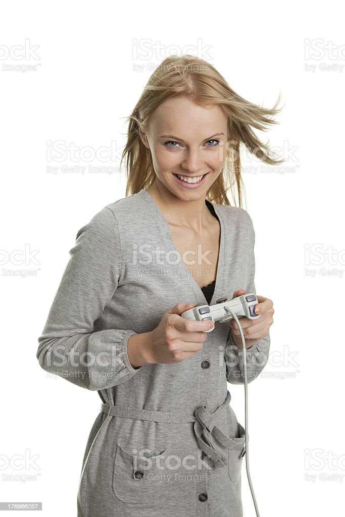 Beautilful young woman playing videogames royalty-free stock photo
