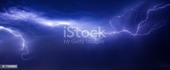 istock beautiul and dramatic lightning in sky 917356660