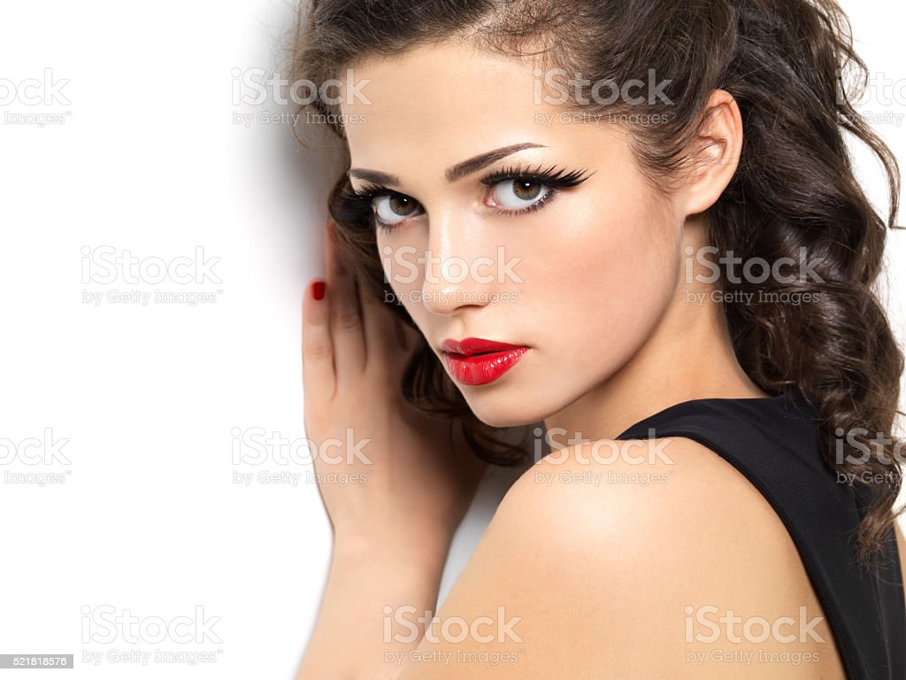 Beautiul fashion girl with red manicure and lips stock photo