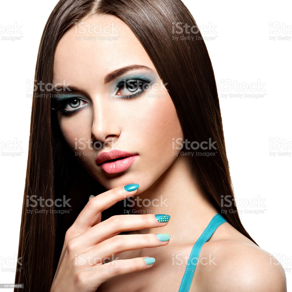 Beautiul Fashion Woman With Turquoise Makeup And Nails Stock Photo ...