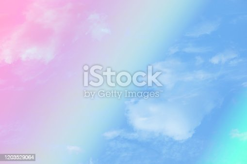 917116520 istock photo beauty abstract sweet pastel multicolor light cloudy on sky 1203529064