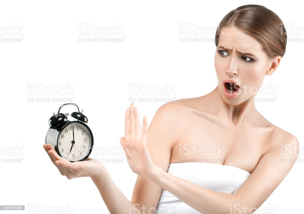 Beauty Aging Skin Concept Beautiful Woman With Clock Healthy Skin Timer  Stock Photo - Download Image Now