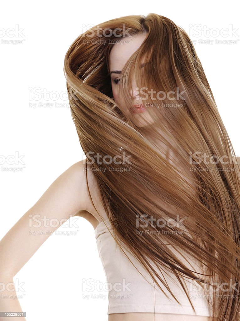 beauty and creative straight long hairs stock photo