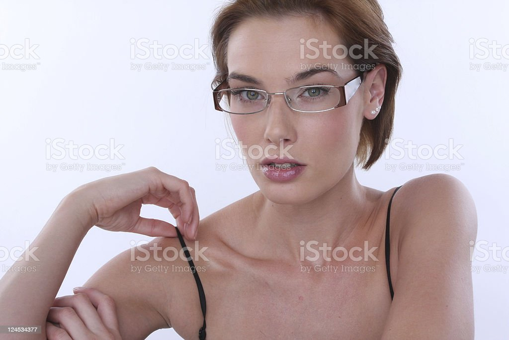 beauty and eye glasses stock photo