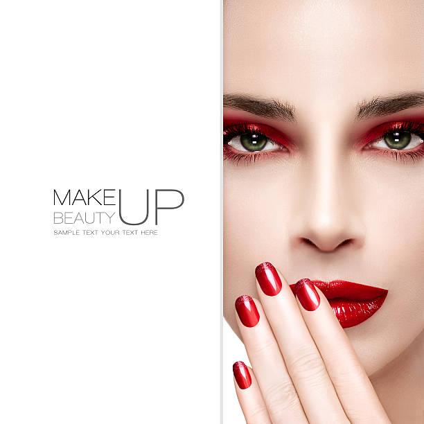 schönheit und make-up-konzept. fashion make-up und nägel - herbst nagellack stock-fotos und bilder