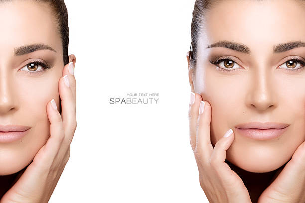 Beauty and Skincare concept. Two Face Portraits Beauty and skincare concept with two face portraits of a beautiful young woman with a flawless smooth complexion, isolated on white with copy space in the middle and sample text. Template design nude women pics stock pictures, royalty-free photos & images