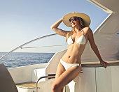 beautiful woman on a yacht