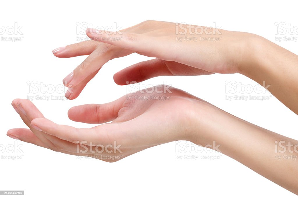 beauty asian woman hand in relaxing and massage. stock photo