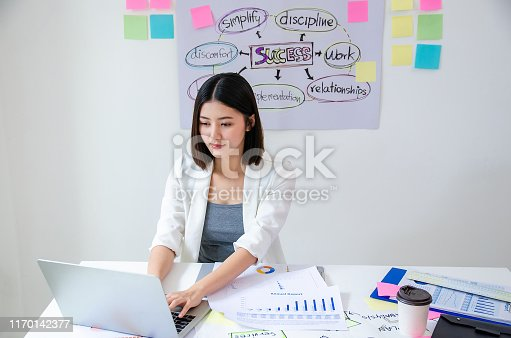 istock Beauty asian woman having coffee and working in modern office. Work on laptop in white room. White female with white dress. Agile with backlog paper office concept 1170142377