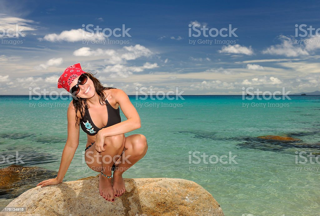Beauty at a beautiful tropical Beach, perfect candid smile (XXXL) royalty-free stock photo
