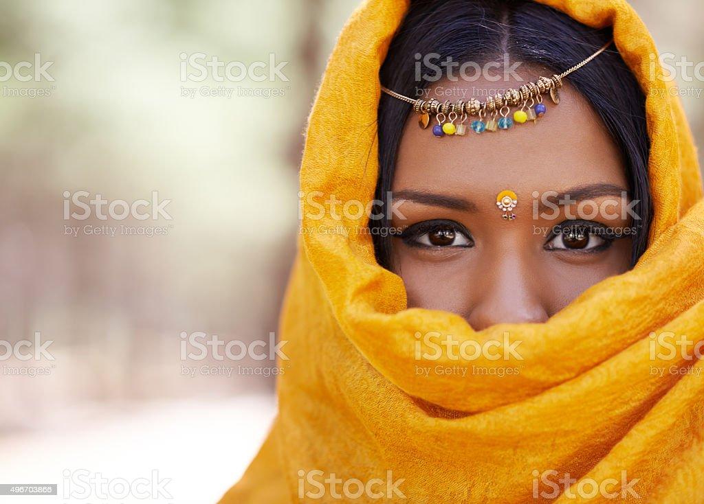 Beauty behind the veil stock photo