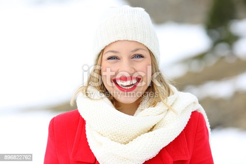 istock Beauty blonde looking at you in winter 896822762