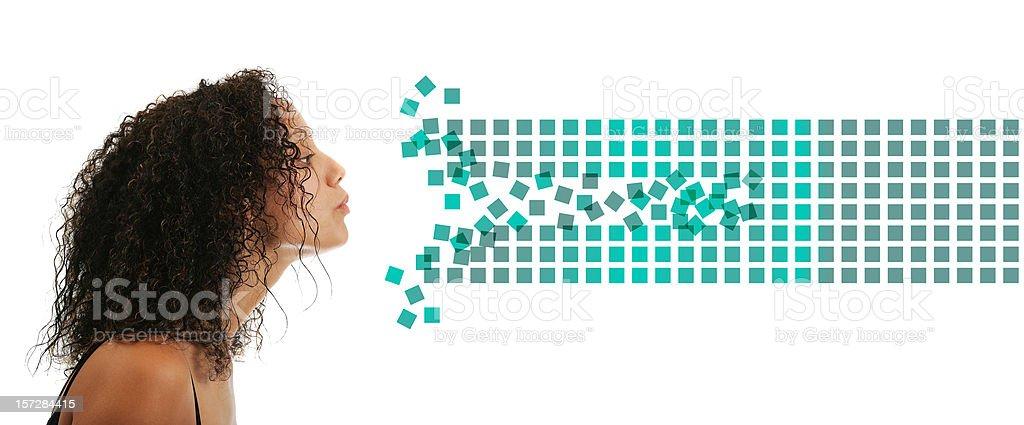 Beauty blowing data (creative digital life) stock photo