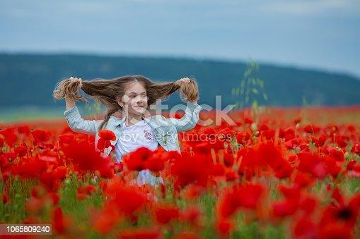 873786782istockphoto Beauty blue eyes teen enjoy summer days .Cute fancy dressed girl in poppy field. Field of blooming poppies. 1065809240
