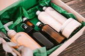 istock Beauty box with bottles of natural cosmetics 1042715770