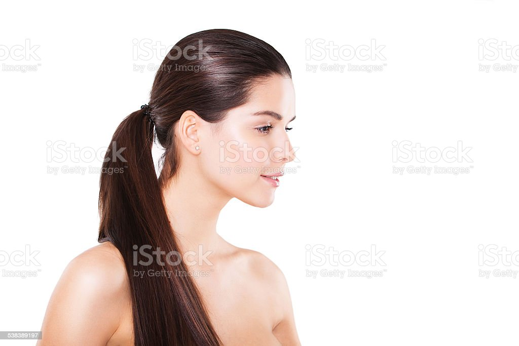 Beauty brunette fashion model girl with long straight brown hair, stock photo