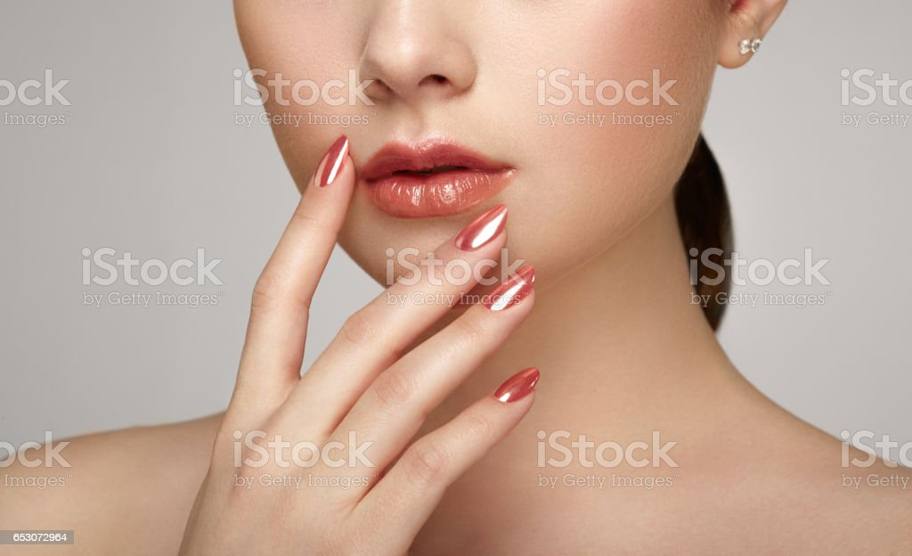Beauty brunette woman with perfect makeup stock photo