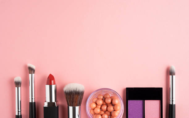 Beauty brushes. Creative concept beauty fashion photo of cosmetic product make up brushes kit on pink background. stage make up stock pictures, royalty-free photos & images
