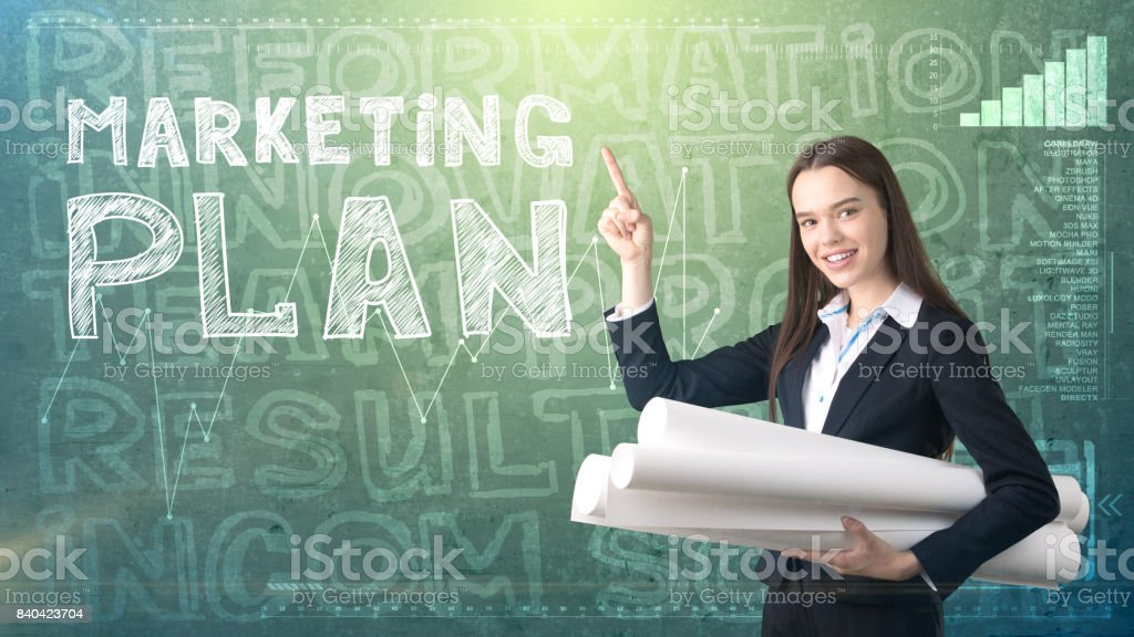Beauty Businesswoman On Painted Background With Marketing Words