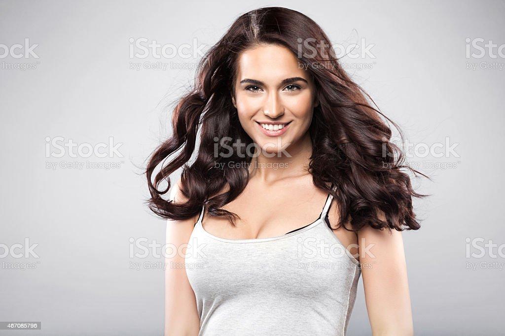 Beauty caucasian brunette woman stock photo