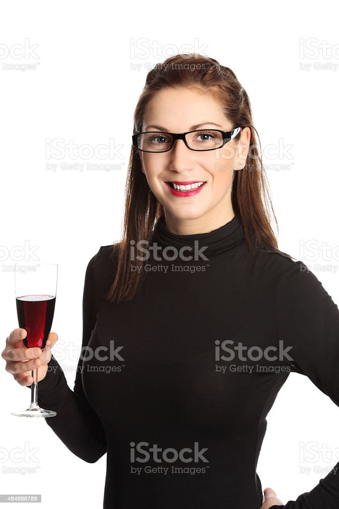Beauty close up with red wine glass stock photo