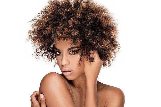 Beauty closeup portrait of girl with afro. - foto de acervo