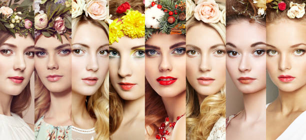 Beauty collage. Faces of women - foto stock