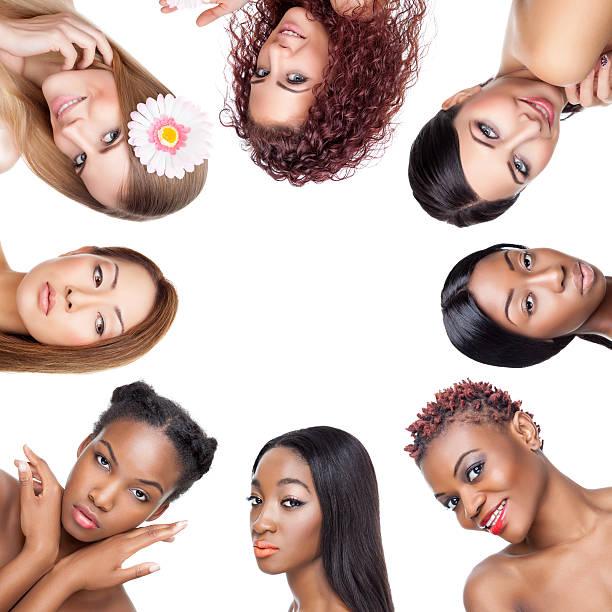 schöne collage portaits von frauen mit verschiedenen der haut - haarschnitt rundes gesicht stock-fotos und bilder