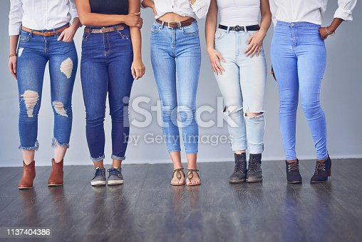 Studio shot of a group of attractive young women posing together against a gray background