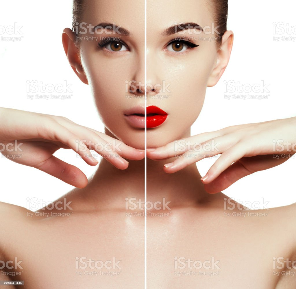 Beauty concept. Beautiful young girl before and after makeup applying. Comparison portrait. Two parts of model face with and without makeup. Two parts of face, with bright make up and natural look stock photo