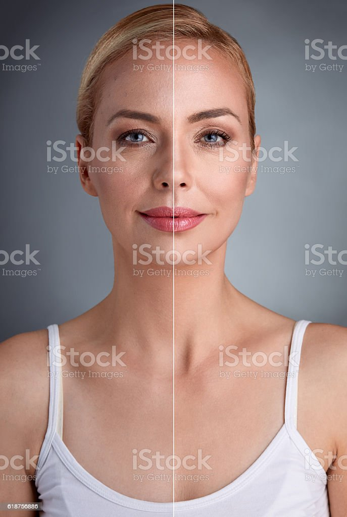 beauty concept,  before and after stock photo