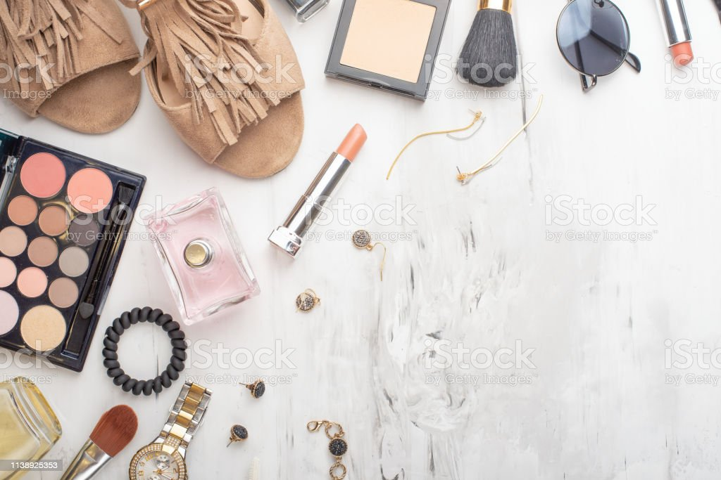 Beauty concept in a blog. Professional female make-up accessories,...