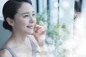 アジアの若い女性の美しさの概念。スキンケア。ボディケア。化粧 品。