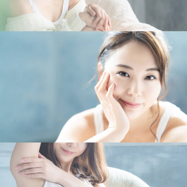 アジアの女性の美しさの概念。コラージュ写真。 - 美容室 ストックフォトと画像