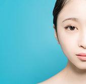 アジアの女の子の美しさの概念。スキンケア。