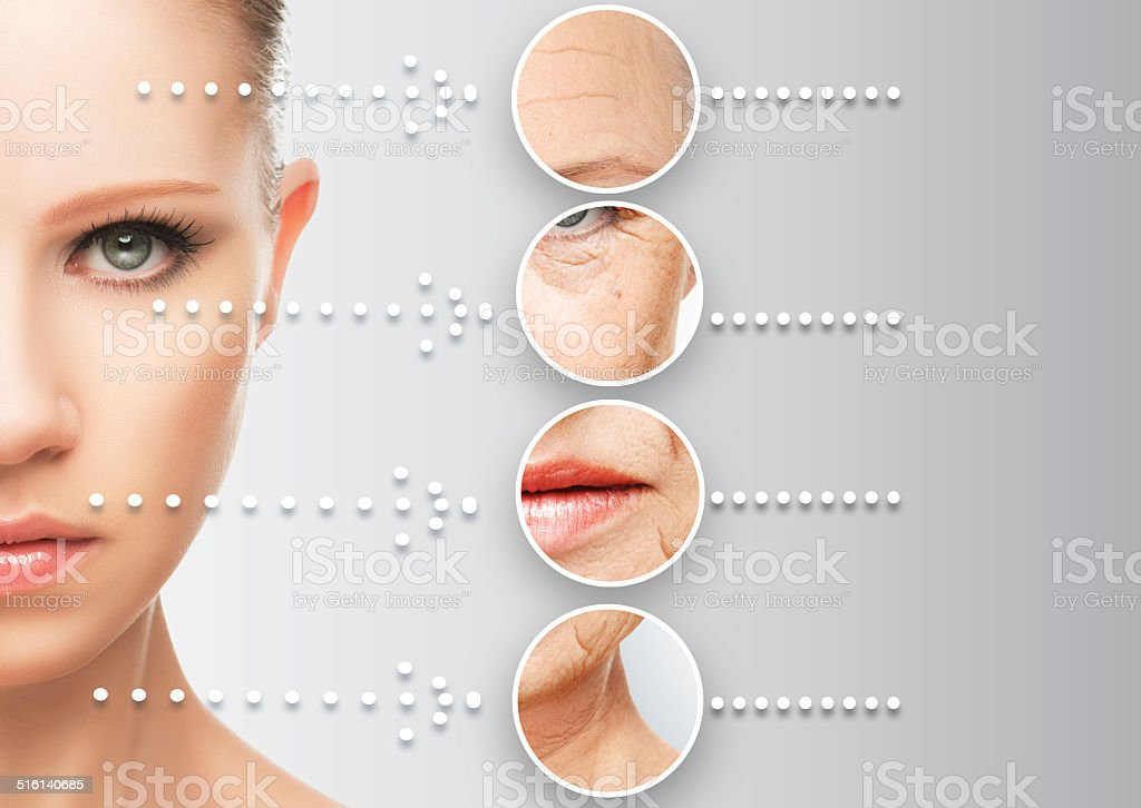 beauty concept skin aging. anti-aging procedures, rejuvenation, lifting, royalty-free stock photo