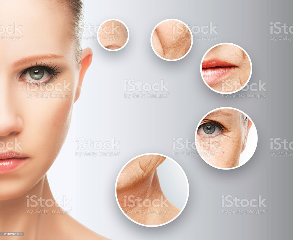 beauty concept skin aging. anti-aging procedures, rejuvenation,...