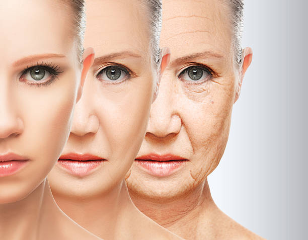 beauty concept skin aging. anti-aging procedures, rejuvenation, lifting, - 人年齡 個照片及圖片檔