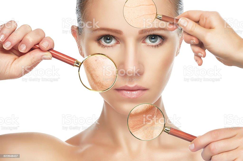 Schönheit Konzept Haut aging. anti-aging-Maßnahmen, Verjüngung, lifting Lizenzfreies stock-foto